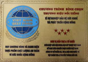 Công ty Nutricare nhận Huy chương vàng thương hiệu an toàn vì sức khỏe cộng đồng